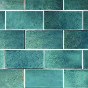 Arteko 3 in. x 6 in. Glazed Ceramic Handmade Green Subway Tile (12.5 sq. ft./case)