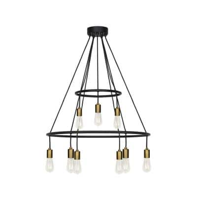 Tae 28 in. W 9-Light Black Modern Industrial Two Tier Chandelier with Aged Brass Socket Cups and Adjustable Black Cords