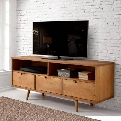 58 in. Caramel Wood TV Stand with 3 Drawer Fits TVs Up to 64 in. with Cable Management