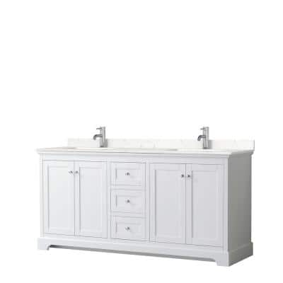Avery 72in.Wx22 in.D Double Vanity in White with Cultured Marble Vanity Top in Light-Vein Carrara with White Basins