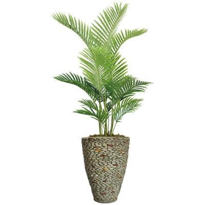 69.5 in. Real Touch Palm Tree in Fiberstone Planter