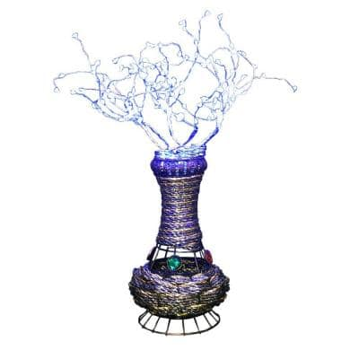 20 in. H Copper Tree Wire Table Lamp with Blue LED