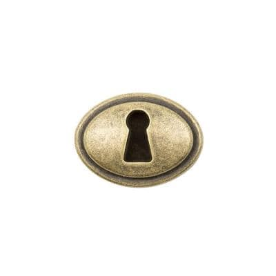 1-5/16 in. Antique Brass Faux Keyhole