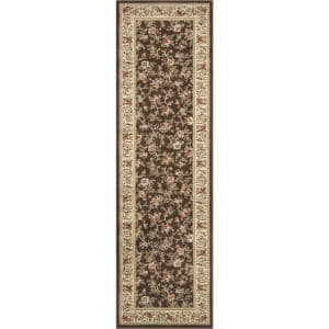 Ankara Floral Garden Brown 2 ft. x 7 ft. Runner Rug