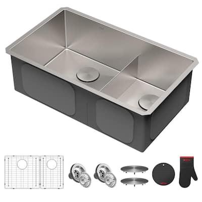 Standart PRO Undermount Stainless Steel 16-Gauge 32 in. 60/40 Double Bowl Kitchen Sink