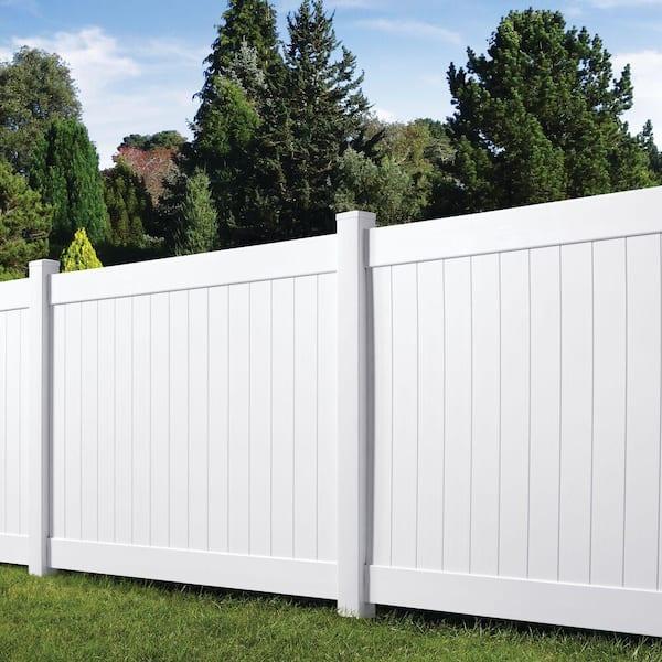 Veranda Acadia 6 Ft X 8 Ft White Vinyl Privacy Panel Fence Kit Qq 73024959 The Home Depot