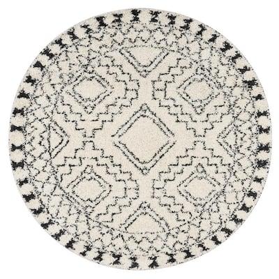 Vasiliki Moroccan Tassel Shag Off-White 10 ft. Round Rug