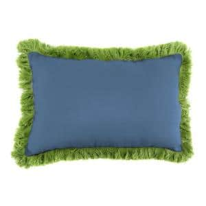 Sunbrella 9 in. x 22 in. Canvas Sapphire Blue Lumbar Outdoor Pillow with Gingko Fringe