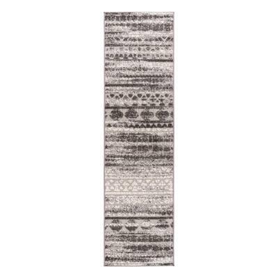 Gray 2 ft. x 7 ft. Modern Stripes Faded Geometric Indoor/Outdoor Runner Rug