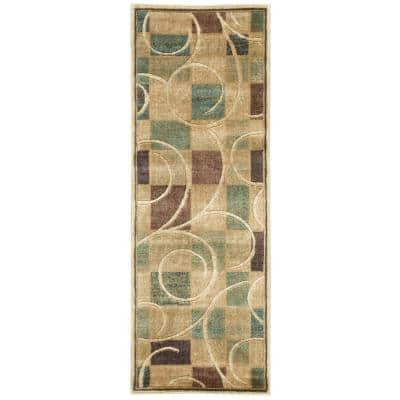 Expressions Beige 2 ft. x 8 ft. Geometric Contemporary Runner Rug