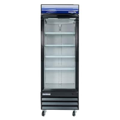 28 in. W 23 cu. ft. Single Swing Glass Door Refrigerator in Black