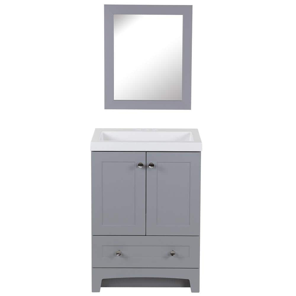 Home Decorators Collection Thornbriar 24 50 In W X 19 In D Vanity In Pearl Gray With Cultured Marble Vanity Top In White W White Sink And Mirror Tb24p3 Pg The Home Depot
