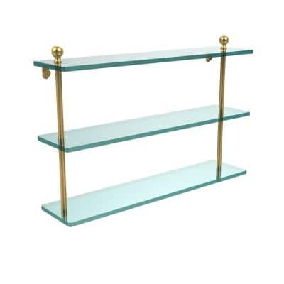Mambo 22 in. L  x 15 in. H  x 5 in. W 3-Tier Clear Glass Bathroom Shelf in Polished Brass