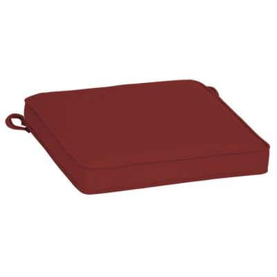 Oasis 21 in. x 21 in. Square Outdoor Seat Cushion in Classic Red