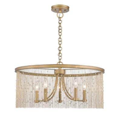 Marilyn CRY 5-Light Peruvian Gold Chandelier with Crystal Strands Shade