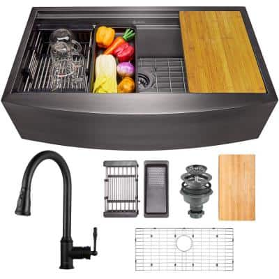 All-in-One Matte Black Finished Stainless Steel 33 in. x 22 in. Farmhouse Apron Mount Kitchen Sink with Pull-down Faucet