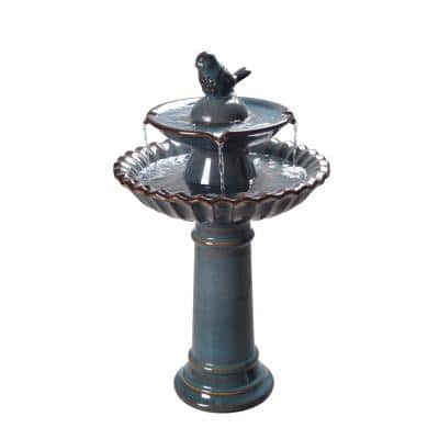 Vienna Ceramic Tiered Fountain Birdbath