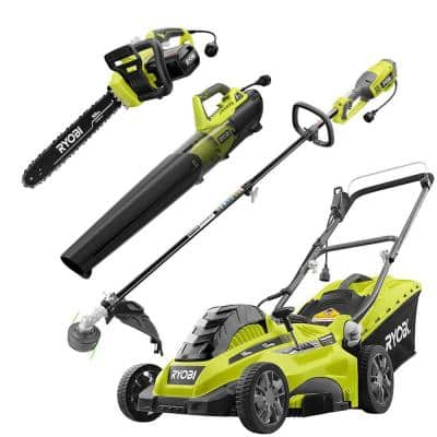 16 in. 13 Amp Corded Electric Walk Behind Push Mower/Blower/Chainsaw/String Trimmer Kit (4-Tool)