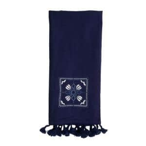 27 in. x 18 in. Blue Embroidered Tile Pattern Woven Cotton Kitchen Tea Towel with Hand Sewn Tassels