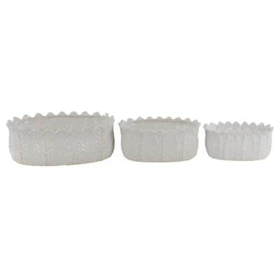 Modern 5 in., 5 in. and 6 in. White Leaf-Designed Stoneware Planters (Set of 3)