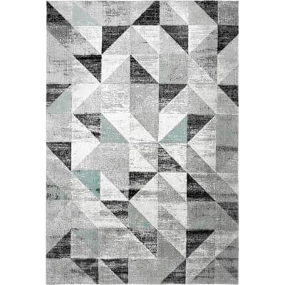 Patio Sofia Gray/Blue 7 ft. 9 in. x 10 ft. 2 in. Indoor/Outdoor Area Rug