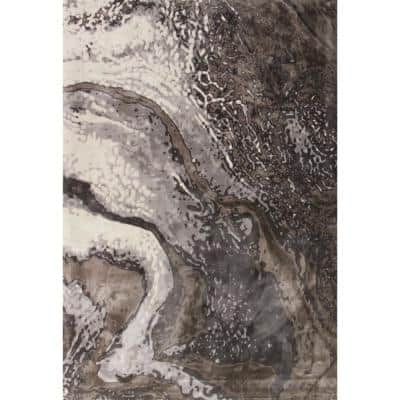 Titanium Geode Gray 7 ft. x 10 ft. Area Rug