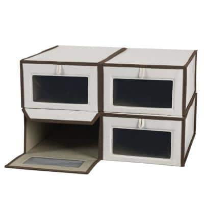 4-Pair White/Brown Cotton Shoe Box with Magnetic Front