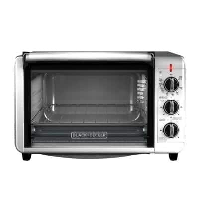 1500 W 6-Slice Black and Silver Convection Toaster Oven