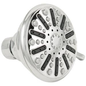3-Spray 3.5 in. Single Wall Mount Fixed Adjustable Shower Head in Chrome