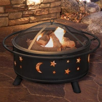 30 in. Round Steel Star and Moon Firepit with Cover