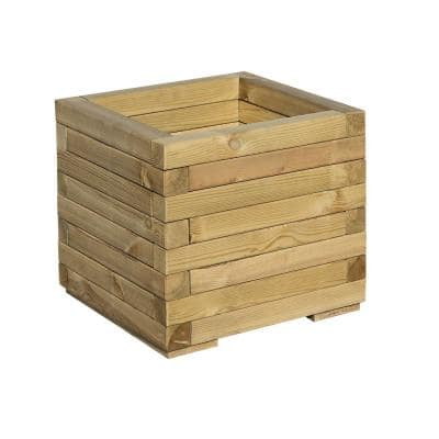 English Garden 16 in. x 16 in. Timber Square Wood Planter