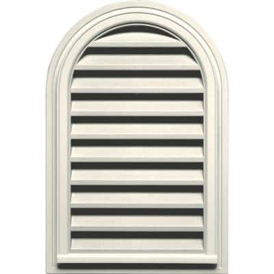 22 in. x 32 in. Round Top Plastic Built-in Screen Gable Louver Vent #034 Parchment