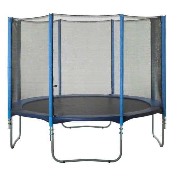 Upper Bounce Trampoline Enclosure Set To Fits 14 Ft Round Frames For 4 Or 8 W Shaped Legs Set Includes Net Poles Hardware Only Ubesos148 The Home Depot