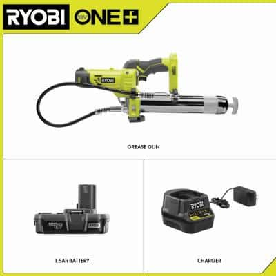 ONE+ 18V Lithium-Ion Cordless Grease Gun Kit with 1.5 Ah Battery and Charger