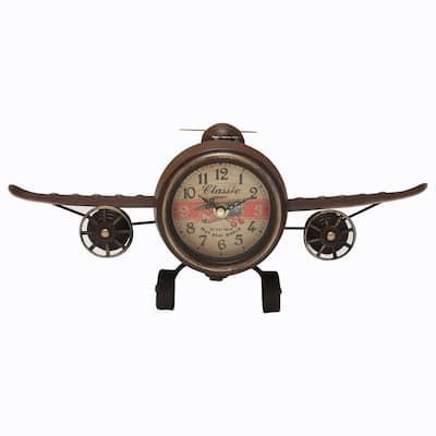 RUSTIC VINTAGE AIRPLANE Table Clock
