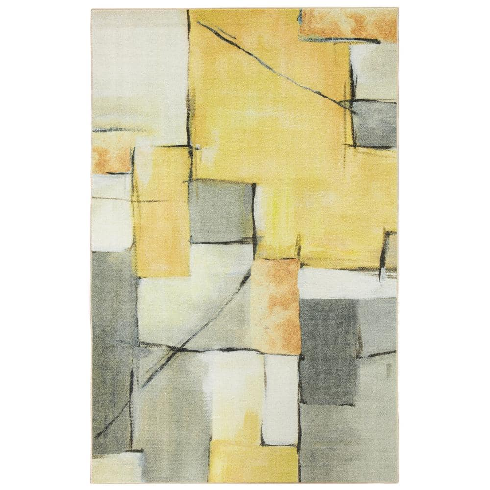 Mohawk Home Painted Geo Yellow 8 Ft X 10 Ft Abstract Area Rug 043450 The Home Depot
