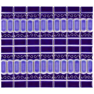 Modena Cobalt Blue 12 in. x 12 in. Porcelain Mosaic Tile (10.69 sq. ft. / Case)