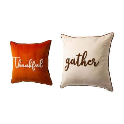 20 in. X 20 in. Polyester Velvet Pillow Cover with Word -Orange/Cream (Set of 2 )