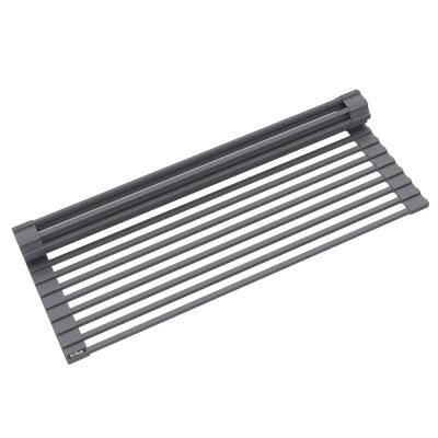 Multipurpose Dark Grey Over-Sink Roll-Up Dish Drying Mat Rack