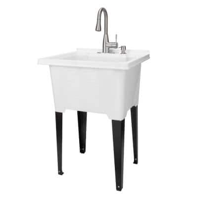 25 in. x 21.5 in. ABS Plastic Freestanding Utility Sink in White - Stainless Pull-Down Faucet, Soap Dispenser