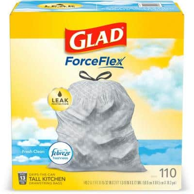 ForceFlex 13 Gal. Fresh Clean scent with Febreze Freshness Tall Kitchen Drawstring Trash Bags (110-Count)