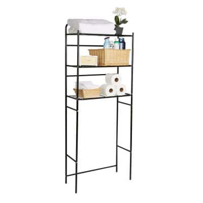 23.6 in. W x 57.50 in. H x 10 in. D Black Over-the-Toilet Storage