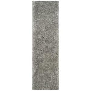 Polar Shag Silver 2 ft. 3 in. x 12 ft. Runner Rug