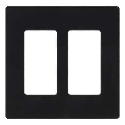 Claro 2 Gang Decorator/Rocker Wallplate, Gloss, Black (1-Pack)