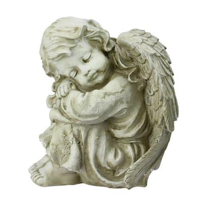 9.5 in. Heavenly Gardens Distressed Ivory Resting Cherub Angel Outdoor Patio Garden Statue