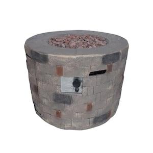 Cameron 32 in. x 23 in. Circular Concrete Propane Fire Pit in Brown
