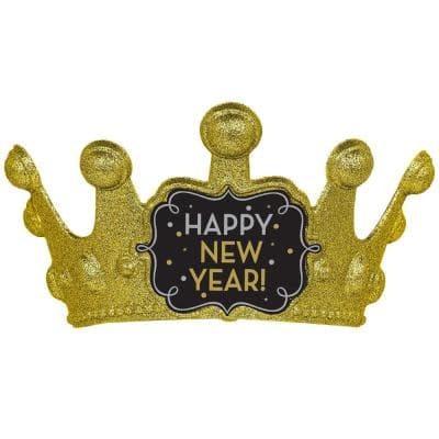 New Year's 5.25 in. Black Silver and Gold Glitter Crown (3-Pack)