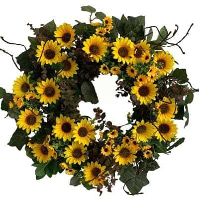 24 in. Unlit Green Artificial Wreath with Golden Yellow Sunflowers