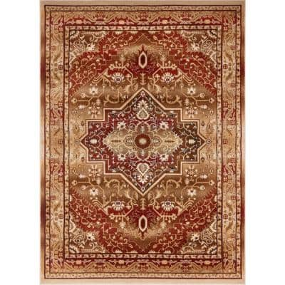 Barclay Kaibab Red 7 ft. 10 in. x 9 ft. 10 in. Traditional Medallion Area Rug