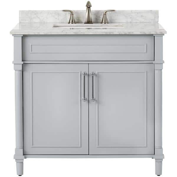 Home Decorators Collection Aberdeen 36 In W X 22 In D Single Bath Vanity In Dove Grey With Carrara Marble Top With White Sink 8103600270 The Home Depot